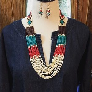 A Seed Bead Necklace & Earrings Native Style
